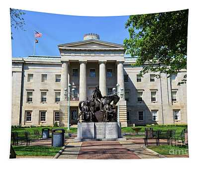 North Carolina State Capitol Building With Statue Tapestry