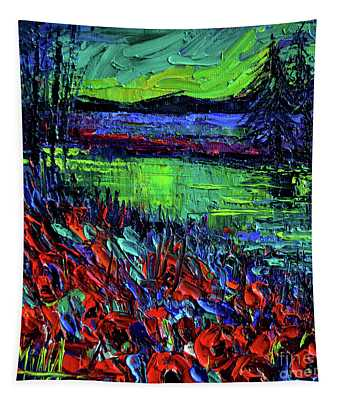 Northern Lights Embracing Poppies Tapestry