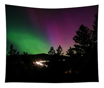 Northern Lights Over Storm Mountain Tapestry