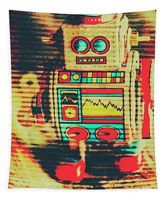 Nostalgic Tin Sign Robot Tapestry