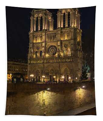 Notre Dame Night Painterly Tapestry
