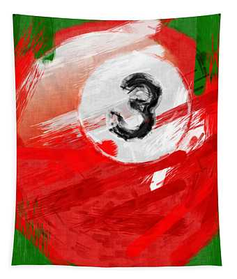Number Three Billiards Ball Abstract Tapestry