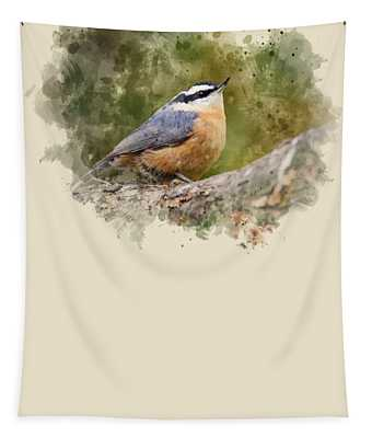Nuthatch Watercolor Art Tapestry