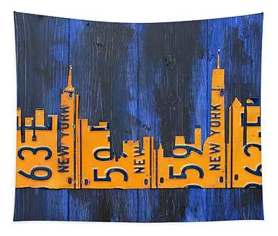 Nyc New York City Skyline With Lady Liberty And Freedom Tower Recycled License Plate Art Tapestry