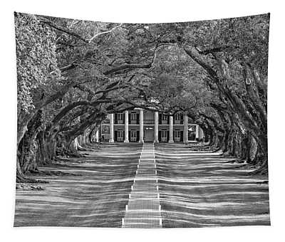 Oak Alley Evening Bw Tapestry