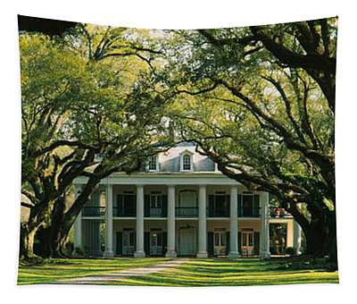 Oak Trees In Front Of A Mansion, Oak Tapestry