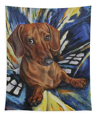 Dachshund Time Lord Tapestry