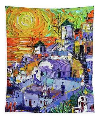 Oia Santorini Magic Light Mini Cityscape 09 - Modern Impressionist Palette Knife Oil Painting Tapestry