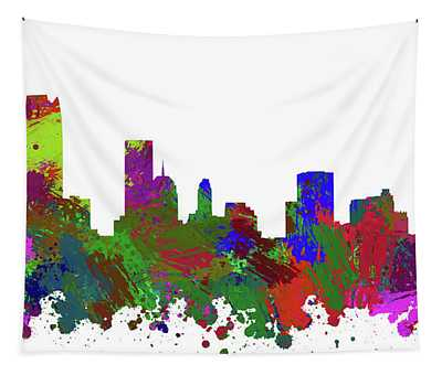 Oklahoma City Skyline Painted Tapestry