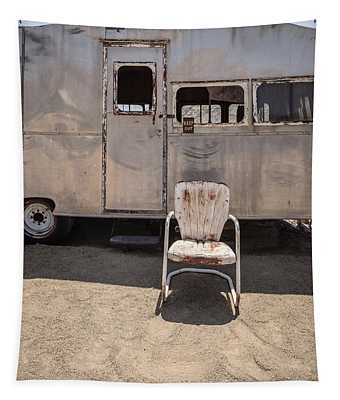 Old 1930 Silver Camping Trailer Tapestry