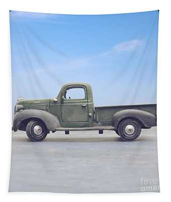 Old 1940s Plymouth Green Truck Tapestry