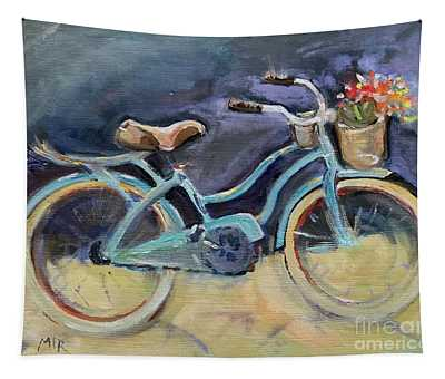Old Blue Bicycle  Tapestry
