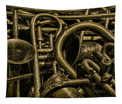 Old Brass Musical Instruments Tapestry