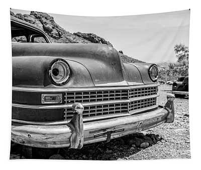 Old Cars In The Desert, Eldorado Canyon, Nevada Bw Tapestry