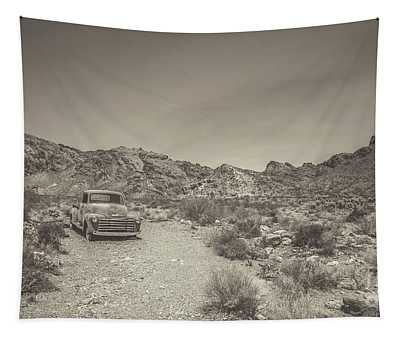 Old Chevy Truck In The Desert Tapestry