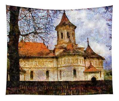 Old Church With Red Roof Tapestry