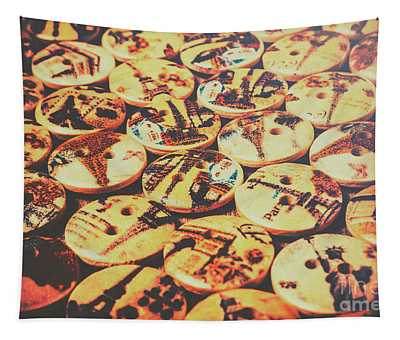 Old Fashion Landmark Buttons Tapestry
