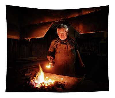 Old-fashioned Blacksmith Heating Iron Tapestry