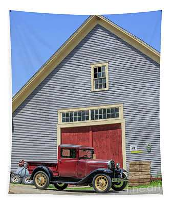 Old Ford Model A Pickup In Front Barn Tapestry