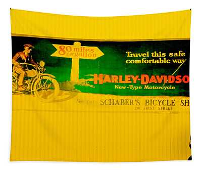 Old Harley Davidson Motorcycle Billboard On Yellow Building Tapestry