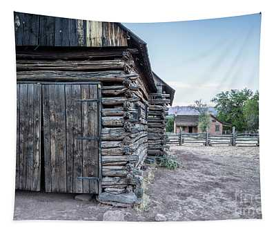 Old Log Barn Grafton Ghost Town Tapestry