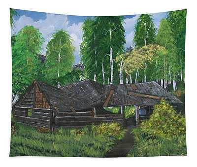 Old Log Cabin And   Memories Tapestry