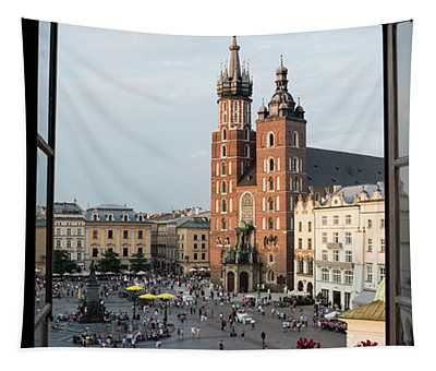 Old Main Square Krakow Poland Panorama Tapestry