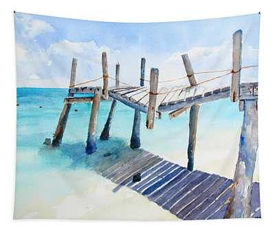 Old Pier On Playa Paraiso Tapestry