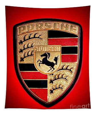 Old Porsche Badge Tapestry