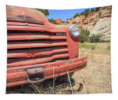 Old Red Chevrolet Outside Zion National Park Utah Tapestry