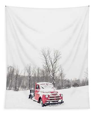 Old Red Farm Truck In The Snow Tapestry