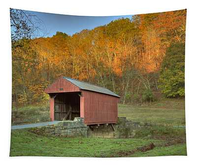 Old Red Or Walkersville Covered Bridge Tapestry