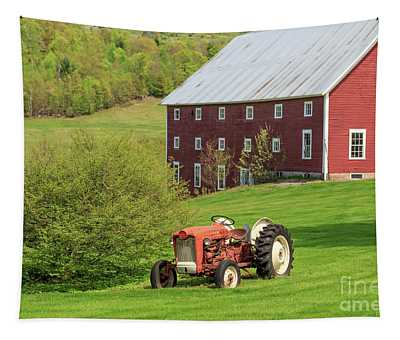 Old Red Vintage Ford Tractor On A Farm In Enfield Nh Tapestry
