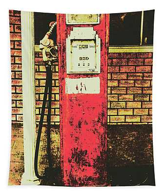 Old Roadhouse Gas Station Tapestry