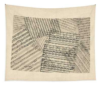 Old Sheet Music Map Of Colorado Tapestry