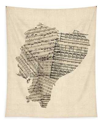 Old Sheet Music Map Of Ecuador Map Tapestry