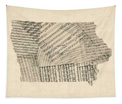 Old Sheet Music Map Of Iowa Tapestry