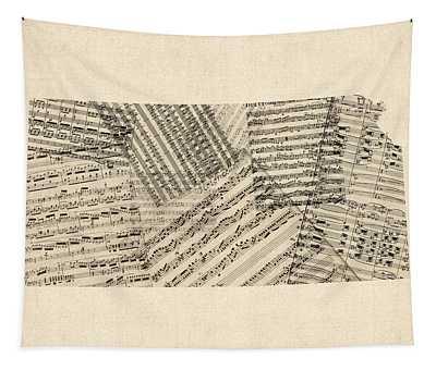 Old Sheet Music Map Of Kansas Tapestry