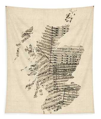 Old Sheet Music Map Of Scotland Tapestry