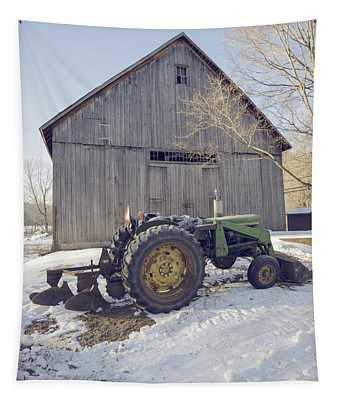 Old Tractor By The Barn Winter Etna Tapestry