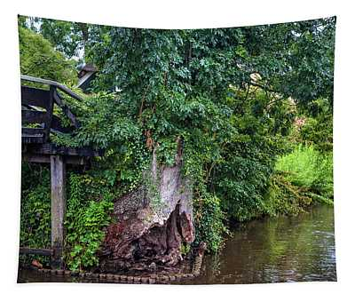 Old Tree At The Bridge. Giethoorn. The Netherlands Tapestry
