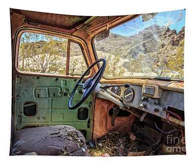 Old Truck Interior Nevada Desert Tapestry