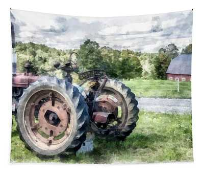 Old Vintage Tractor On The Farm Tapestry