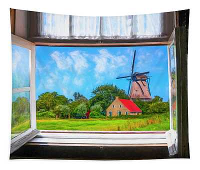 Old Windmill Through The Window Painting Tapestry