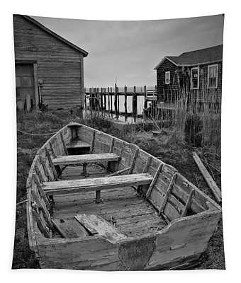 Old Wooden Boat Bw Tapestry