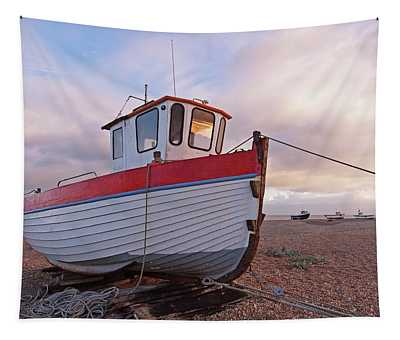 Old Wooden Fishing Boat Home By Sunset Tapestry