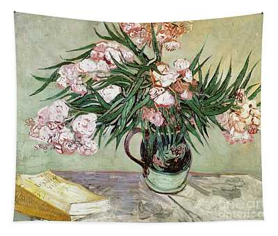 Oleanders And Books Tapestry