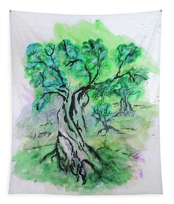 Olive Tree Grove Tapestry