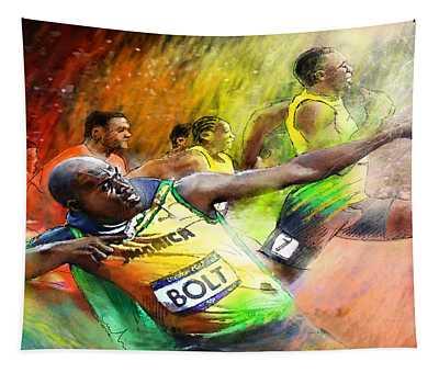 Olympics 100 M Gold Medal Usain Bolt Tapestry