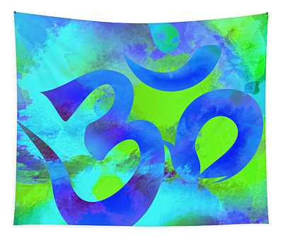 Om Symbol, Green And Blue Tapestry